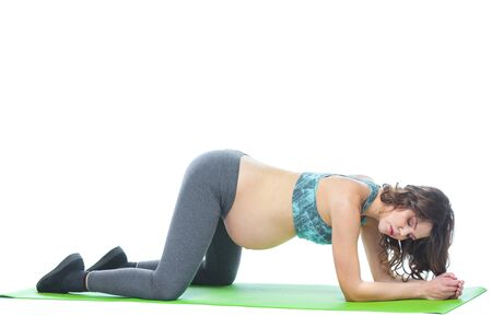Beautiful pregnant woman workout. Doing fitness on last months of pregnancy. Yoga positions. Motherhood, pregnancy, yoga concept. Isolated white background.