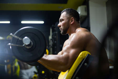 Side view of strong muscular arms of a sportsman doing scott curls exercise in a gym 免版税图像