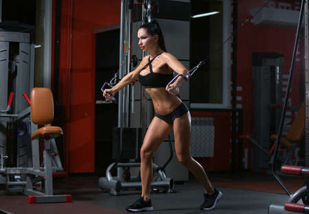 Full length portrait of athlete girl in sportswear working out and training her arms and shoulders with exercise machine in gym Stok Fotoğraf