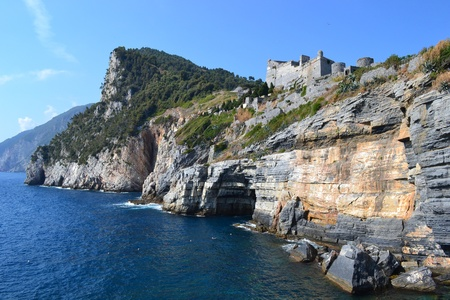 fortezza: cave dedicated to the poet Byron in Portovenere - Italy Stock Photo