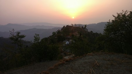 Beautiful sunrise of hill arrea of devbhoomi Uttarakhand Stock Photo
