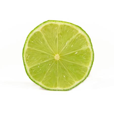 limon: Fresh Slice of Lime Over White Background