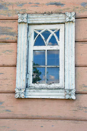 Antique wood about a hundred years old windows are already the subject of heritage Stock Photo