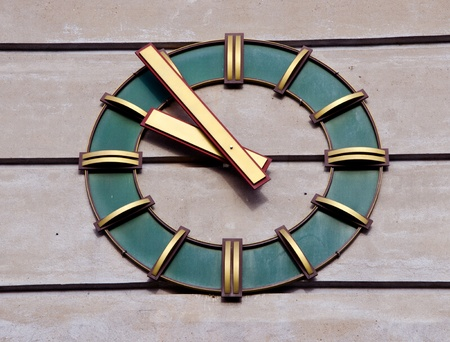 modernistic: Modernistic clock on the wall of industrial building. Time passing. Stock Photo