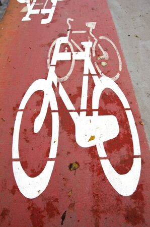 the carriageway: Bicycle path crosses the carriageway road section. Sign for drivers attention and cyclists security.