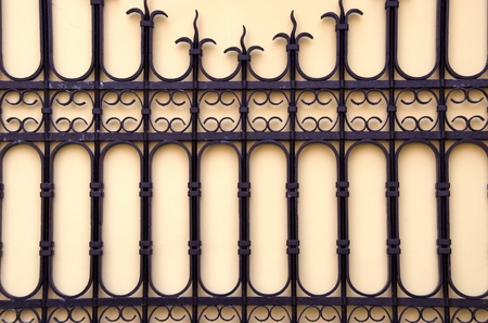 Open decorative gate fragment. Architectural metal background. Stock Photo
