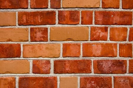 tinge: Background of red color brick wall closeup. Different tinge colors.
