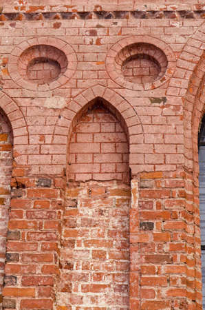 Ancient architecture grunge red brick building decorative wall background Stock Photo - 12567539