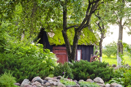 Old retro garden house mossy roof in park surrounded by plants and flowers background  Romantic view   Editorial