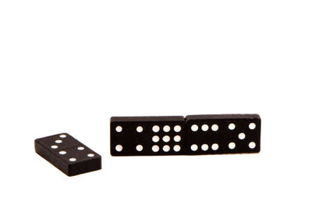 Black domino game with white dots number isolated on white background