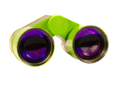 Theater binoculars for distance zoom view  Green toy isolated on white background Stock Photo - 12567547