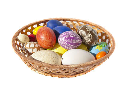 Painted Easter eggs in wicker dish  Festive table decoration Stock Photo - 12567525