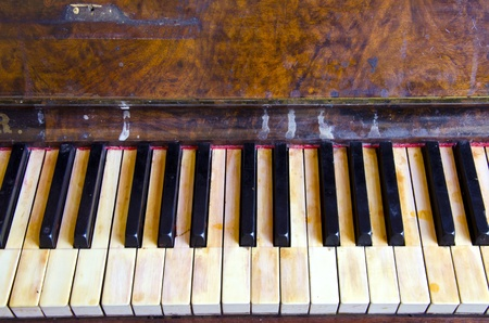 grubby: Background of antique vintage retro grunge musical instrument piano black and white keys
