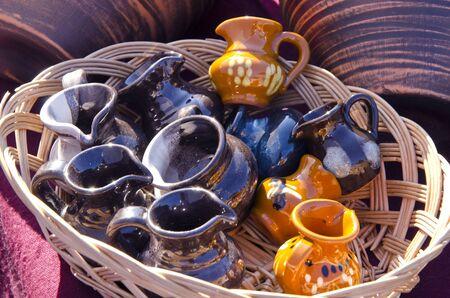 Decorative handmade pottery jar sold outdoor at market fair   Stock Photo - 13069310
