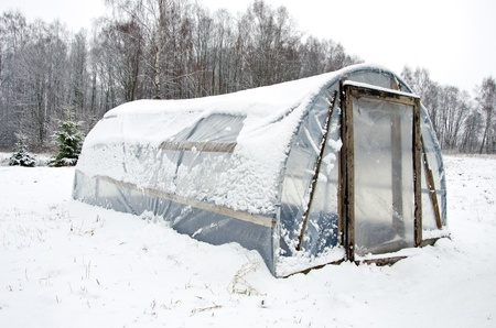 polythene: wooden diy homemade greenhouse covered with polythene and snow in winter   Stock Photo