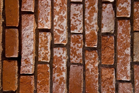 Old red brick wall fragment  Architectural background   photo