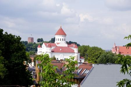 Vilnius oldtown buildings  Gediminas castle in Lithuania