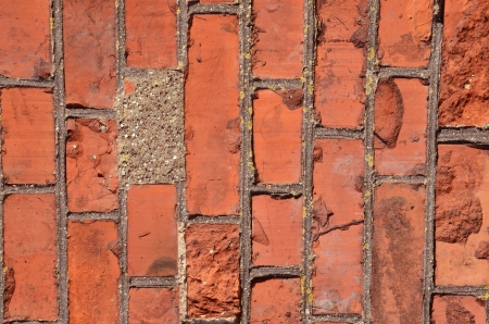 Fragment of old squared red brick wall  photo
