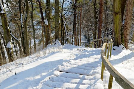 Wooden snowy oak staircase with handrail on steep hill in winter   Stock Photo - 13739435