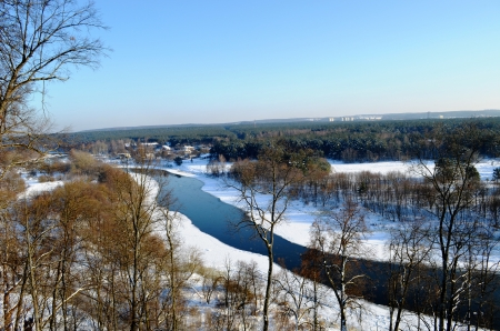 River Neris amazing panoramic view in Winter from Verkiai Park observation deck