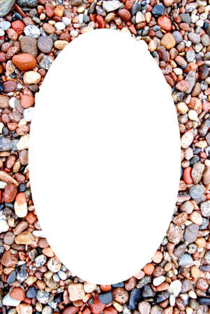 Isolated oval place for text or photograph image photoframe frame  Colors and shapes of coastal stonnies moisten by sea waves   photo
