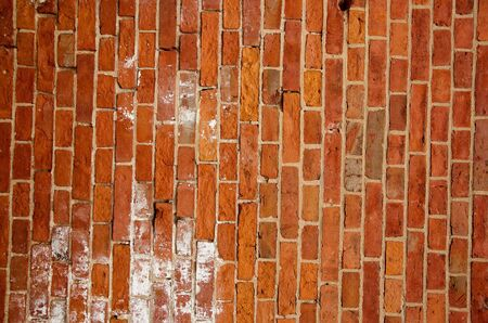 Fragment of old squared red brick wall  Stock Photo - 13906388