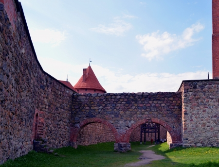 xv century: Antique Trakai castle wall. One of most visited tourist places in Lithuania. XIV, XV century architecture.  Editorial