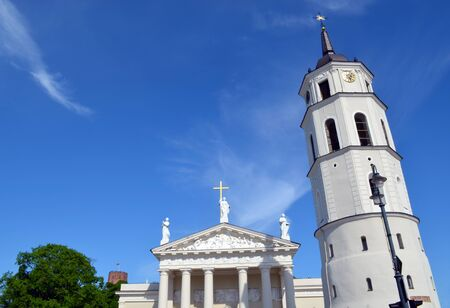 Vilnius cathedral bell tower and Gediminas castle fort on high hill against cloudy sky Stock Photo - 14039450