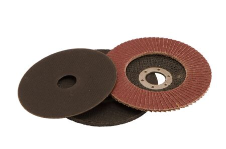 Special angle grinder sander discs for grinding and cutting isolated on a white background. Construction industry tools.