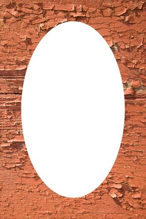 Isolated white oval place for text photograph image in center of frame. Old painted wooden boards with the falling paint background  Stock Photo