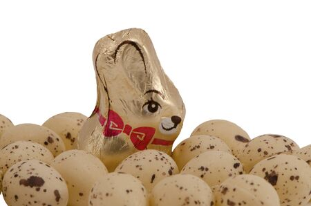 Chocolate Easter candy delicacy wrapped in foil with bunny image surrounded with small plastic eggs isolated on a white background. Stock Photo - 14210990