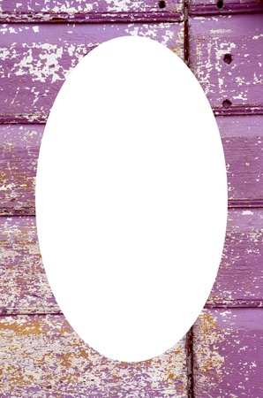 Background of an old painted, crumbled door  Handle on purple wooden planks  Isolated white oval place for text photograph image in center of frame   Stock Photo - 14347367