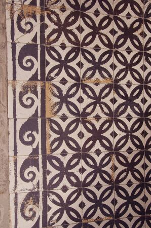 Detail of old decorative tiles walkway  Nice backdrop   photo