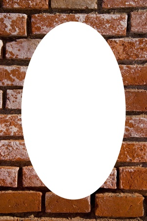 Old red brick wall fragment  Isolated white oval place for text photograph image in center of frame  Architectural background   photo