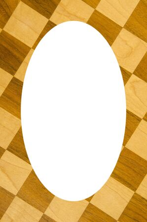 Fragment of checkers or chess board  Isolated white oval place for text photograph image in center of frame  Playful background   photo