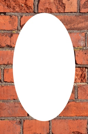 Fragment of old squared red brick wall  Isolated white oval place for text photograph image in center of frame   photo
