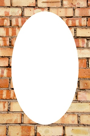 Isolated white oval place for text photograph image in center of frame  Fragment of old squared red brick wall   photo