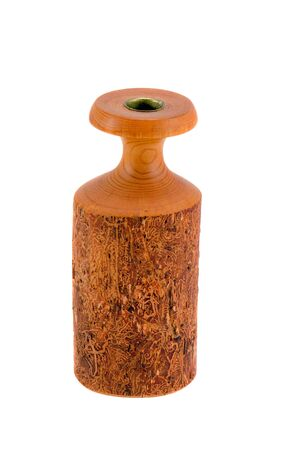 Handmade wooden candlestick isolated on white background  Rural crafts   Stock Photo - 14438059