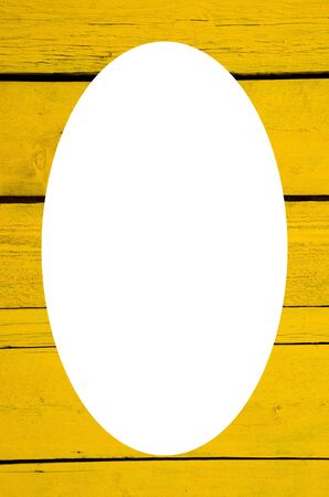 Isolated oval place for text photograph image on wall made of wooden yellow planks. Interesting background.  photo
