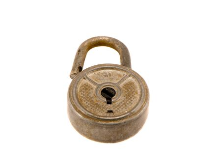 Retro dirty rusty lock isolated on white background Stock Photo - 14489222