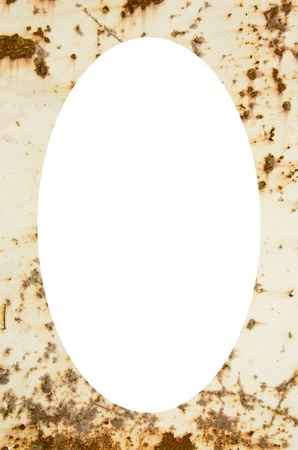 Old metal plate painted white with some rust  Isolated white oval place for text photograph image in center of frame   photo