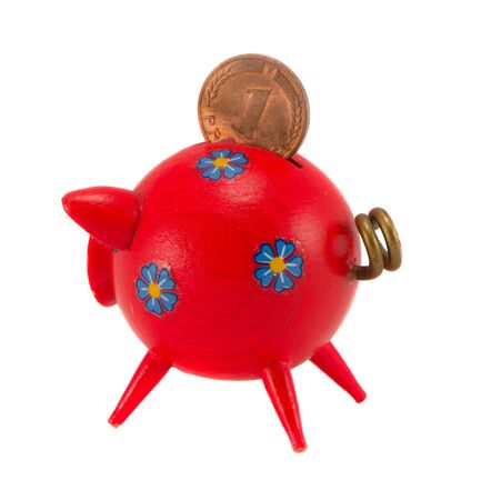 nestegg: Red wooden piggybank isolated on white background  Saving money for black day in pig money-box  Nest-egg  Stock Photo