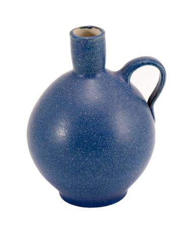Blue ceramic jug vase with handle isolated on white background Stock Photo - 14647359
