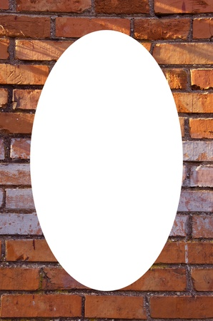 Isolated white oval place for text photograph image in center of frame  Wall made of red and colored bricks  Architectural decision   photo