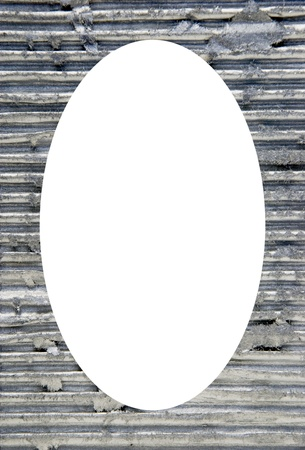 Isolated white oval place for text photograph image in center of frame  Wall with metal finish on it  Metallic background   photo