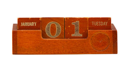 Retro vintage wooden calendar show 2013y New year date January 1st Tuesday  photo