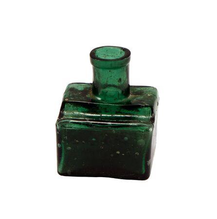 Retro butelka wykonana z zielonego szkła na białym tle. Zdjęcie Seryjne - 14702335