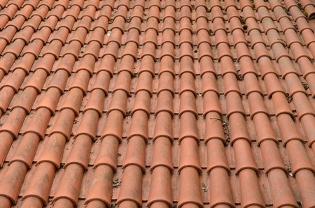 Background of clay round tiles covered roof   photo