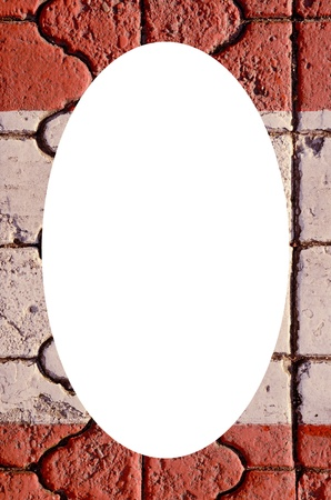 intresting: Isolated white oval place for text photograph image in center of frame  Wall fragment built of intresting bricks  Architectural background   Stock Photo