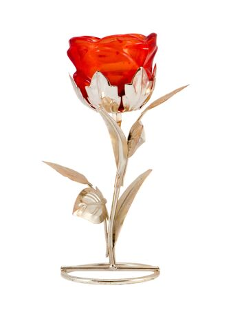 Artificial silver glass rose flower home decoration isolated on white background